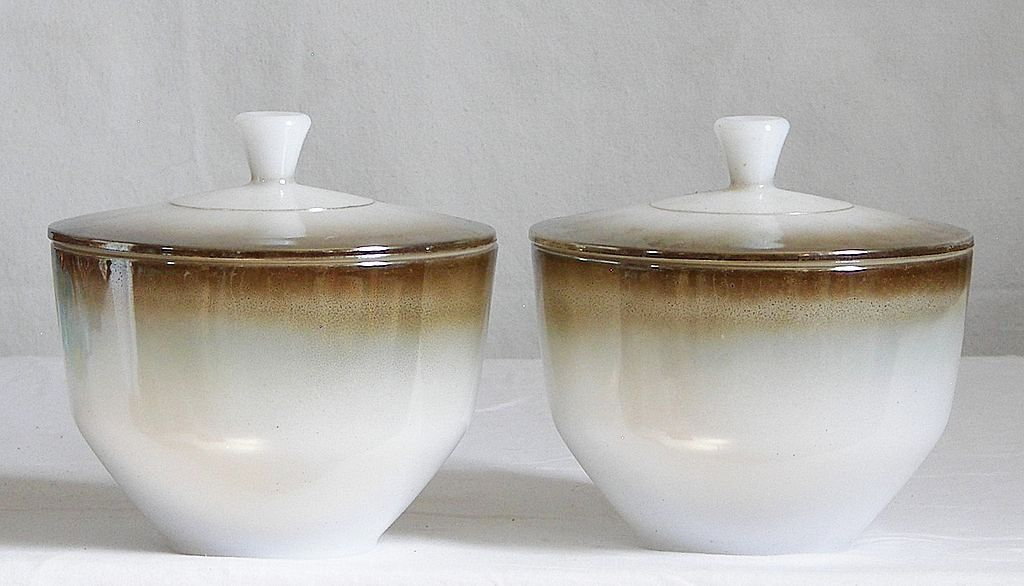 Vintage Milk Glass Vintage Federal Bowl with Lid Luster Ware Glaze 1.5 quart size Vintage Collectibles Serving Pieces. $14.00, via Etsy.