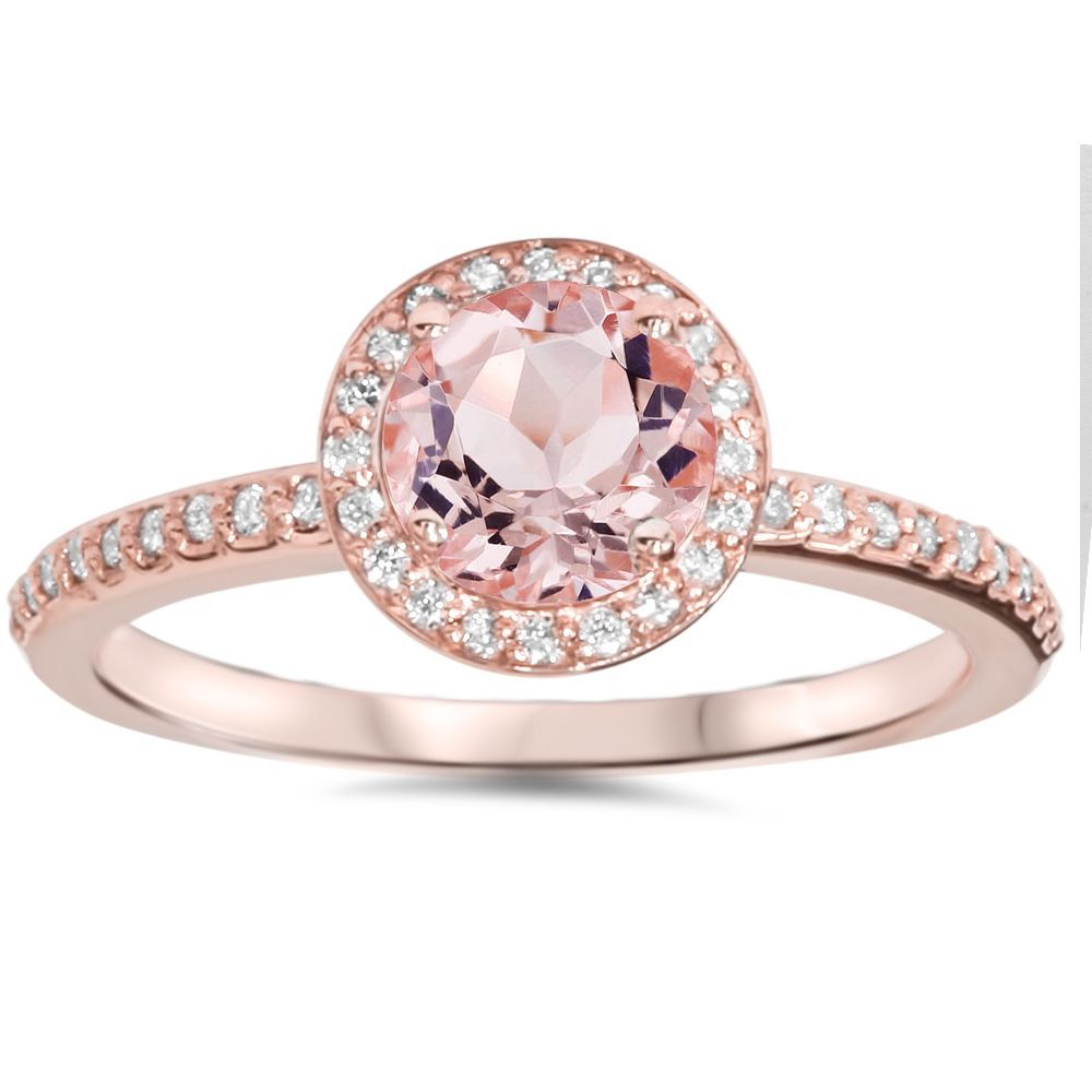 Pompeii3 14k Rose Gold 1 4ct Tdw Diamond And Morganite Gemstone Halo In 2020 Morganite Diamond Engagement Ring Gemstone Engagement Rings Gemstone Halo Engagement Rings