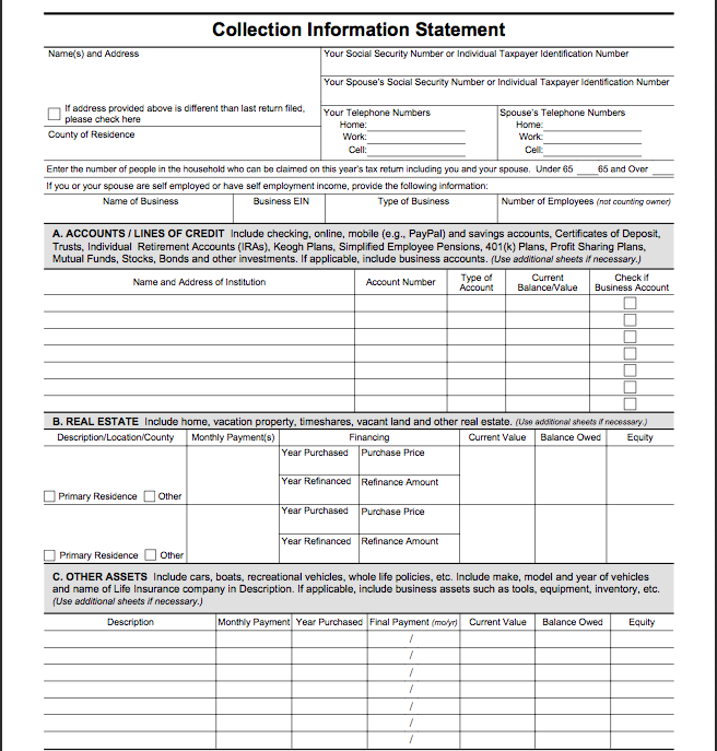 Irs Form F Collection Information Statement Download This Form