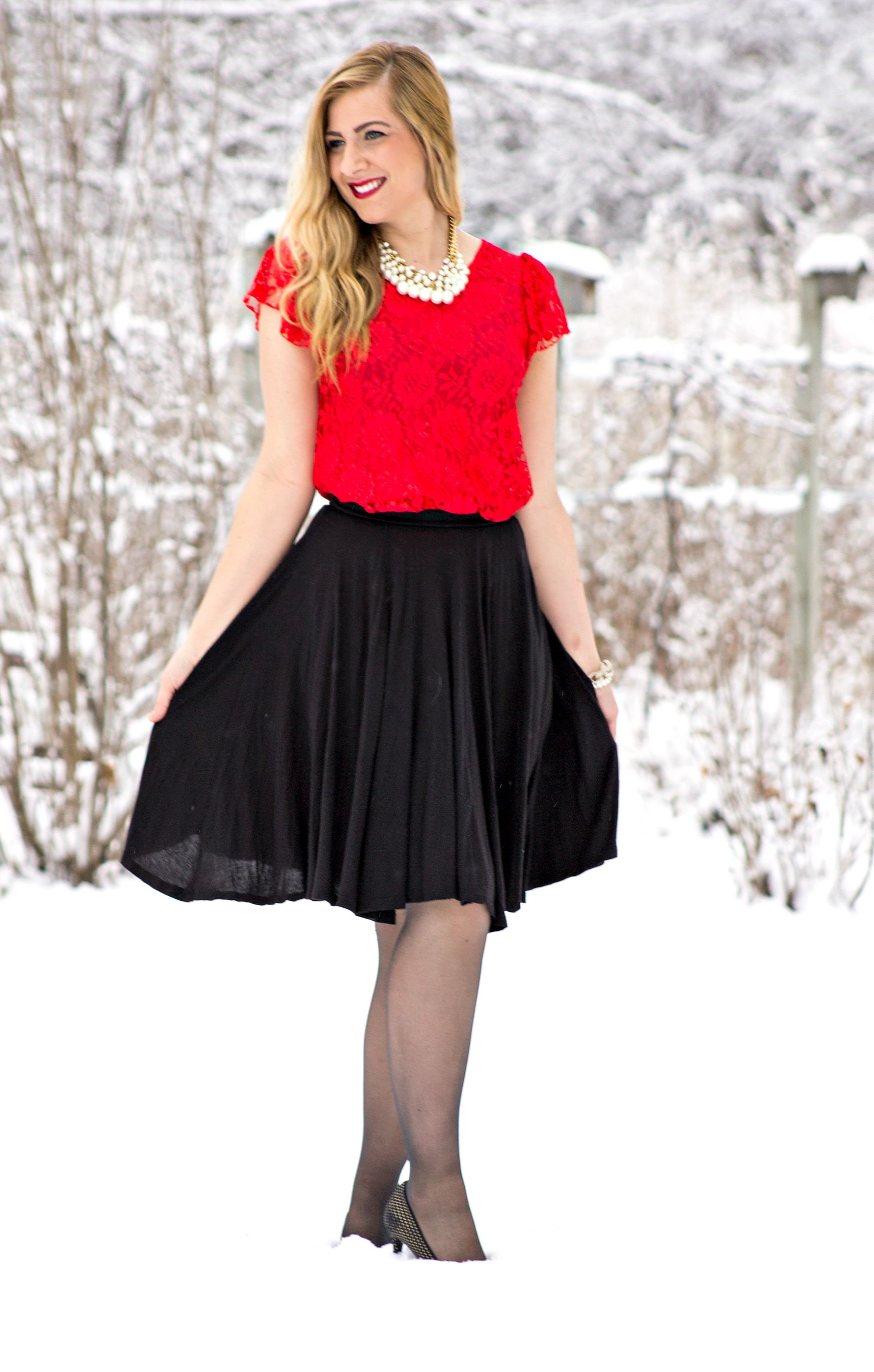 46781eceb3b7 Red Lace Top + Black Skirt + Pearl Necklace | My Style - Rachel's ...