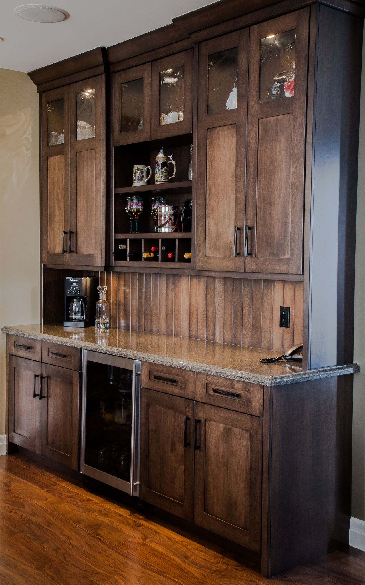Custom maple wetbar bar wall unit great for entertaining for Built in wall bar ideas
