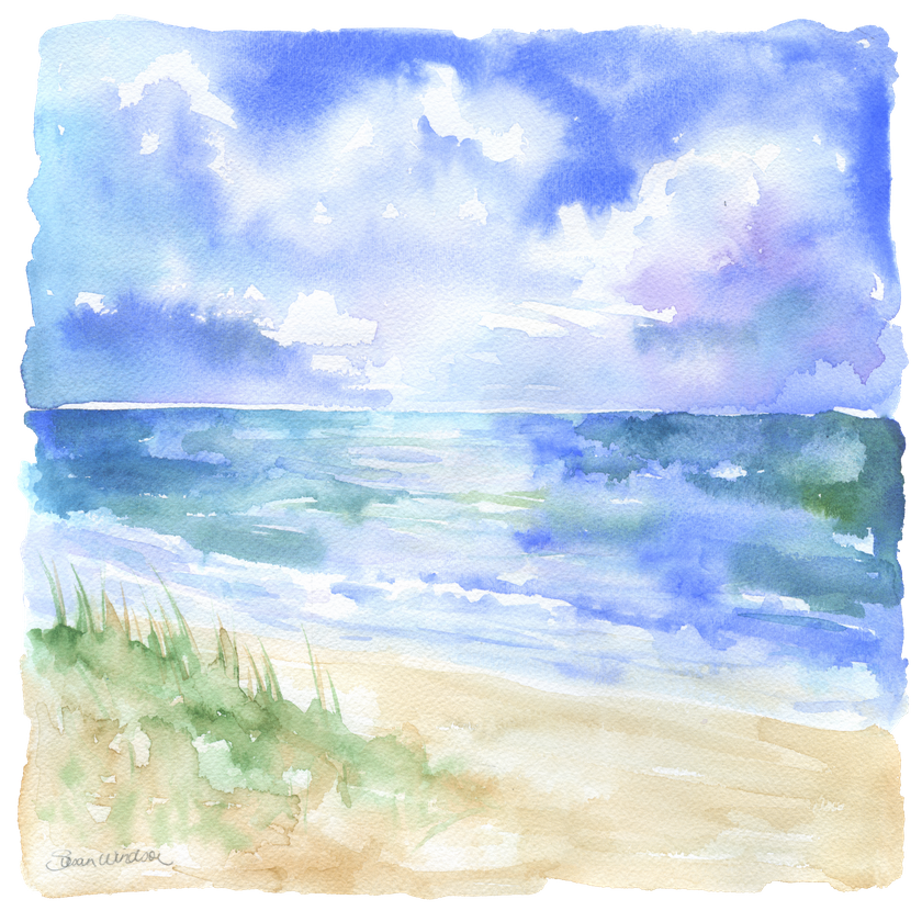 Ocean And Sand Dunes Art Print By Susan Windsor X Small In 2020 Watercolor Ocean Watercolor Landscape Paintings Seascape Paintings
