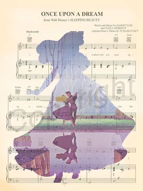 Sleeping beauty aurora silhouette once upon a dream sheet music art sleeping beauty aurora silhouette once upon a dream sheet music art print gumiabroncs Choice Image