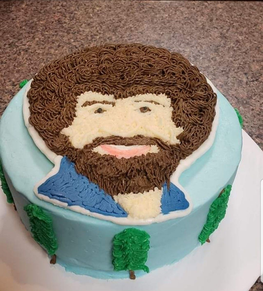 Bob Ross cake in 2020 Bob ross birthday, Cake decorating