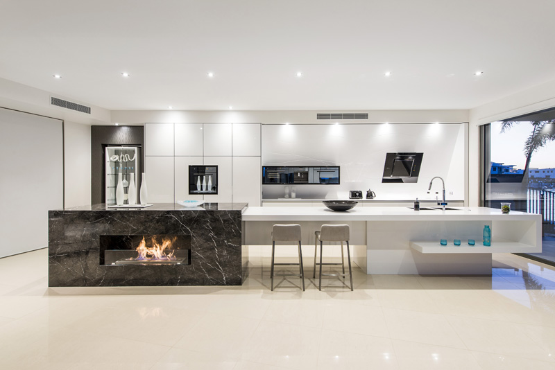 Bench Ideas For Kitchen Part - 20: Kitchen Island Integrated Fireplace Design || Enigmainteriors.com.au