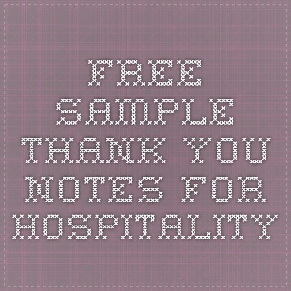Free Sample Thank You Notes For Hospitality  Card Messages
