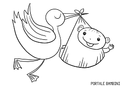 Baby Infant Newborn And Stork Coloring Pages Portale Bambini