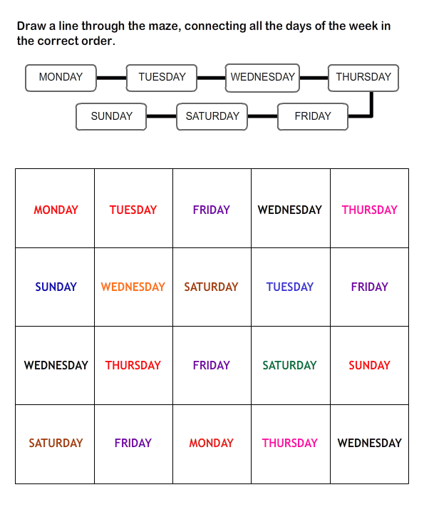 Free Printable Worksheets for Kids – Days of the Week Kindergarten Worksheets