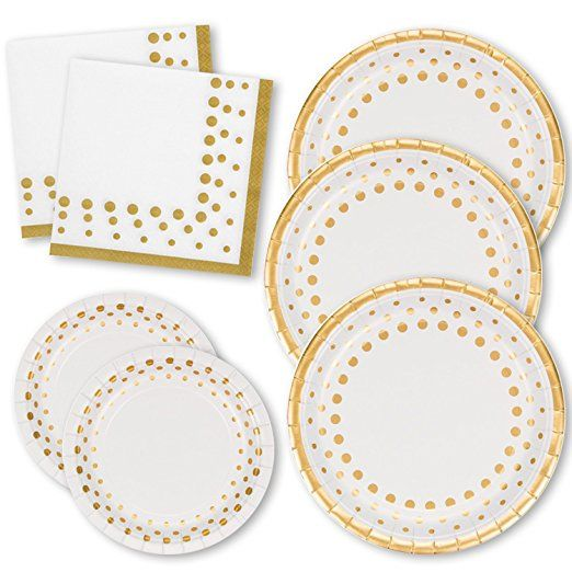 Gift Boutique Gold Dot Party Pack For 50 Guests 50 Dinner Plates 50 Dessert Plates 100 Luncheon Linen Feel Napkins Tableware Set Disposable Plastic Plates
