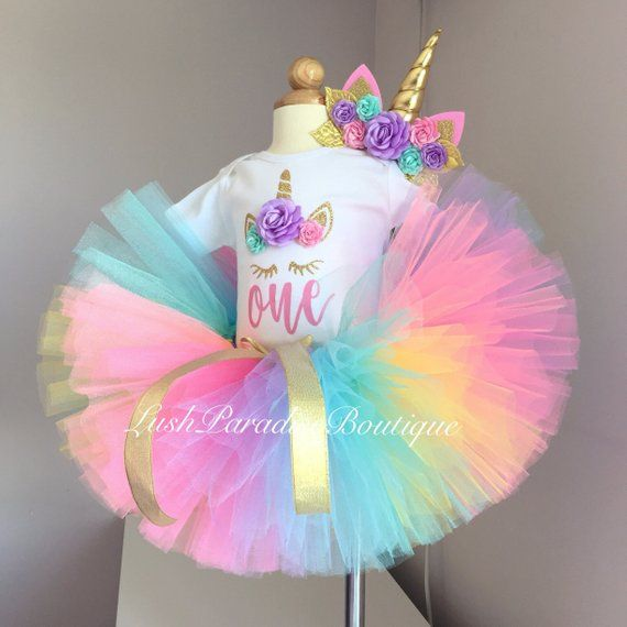 Rainbow unicorn birthday outfit. Unicorn headband, tutu and bodysuit. #birthdayoutfit