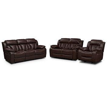 Enjoyable American Signature Furniture Maverick Leather 3 Pc Living Short Links Chair Design For Home Short Linksinfo