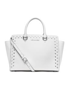 f3677ccac698 Michael Kors cream leather signature bag with crystal detailing and  matching purple leather wallet that can also double as a clutch.