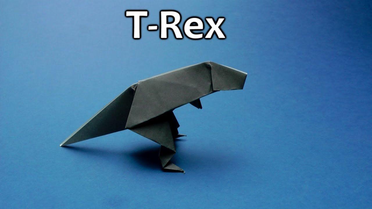 Easy Origami Dinosaur T-Rex. Step by step video Tutorial ... | 720x1280