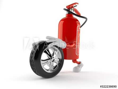 Fire extinguisher character with car tire , #sponsored, #extinguisher, #Fire, #character, #tire, #car #Ad
