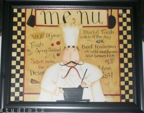 Fat Chef Menu Framed Print Kitchen Decor Wall Art Chefs Soup Spice Black Frame