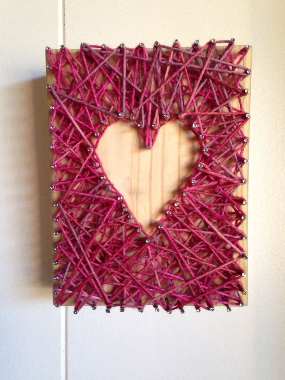 Heart Yarn And Nail Art With Wood And Merino Wool Yarn Decor