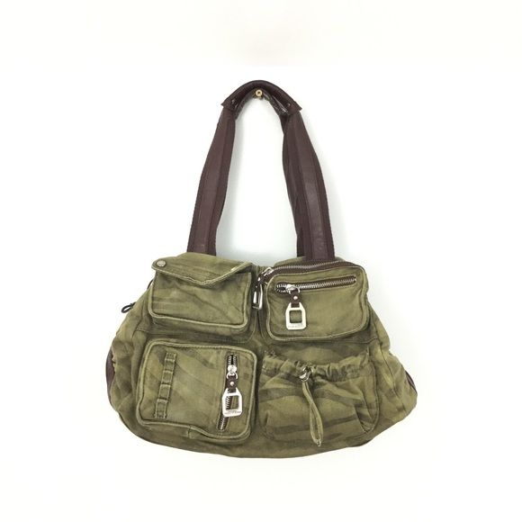 Tyler Rodan Camo Shoulder Bag Tyler Rodan Canvas Handbag With Faux
