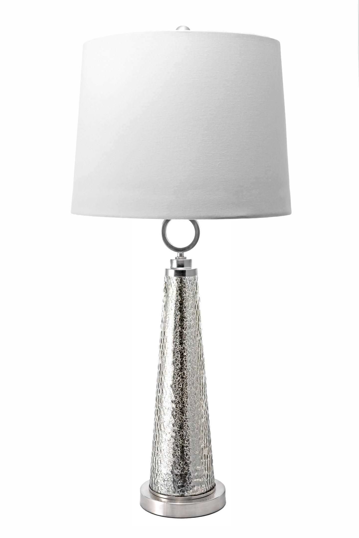 34inch Textured Glass Spire Linen Shade Table Lamp