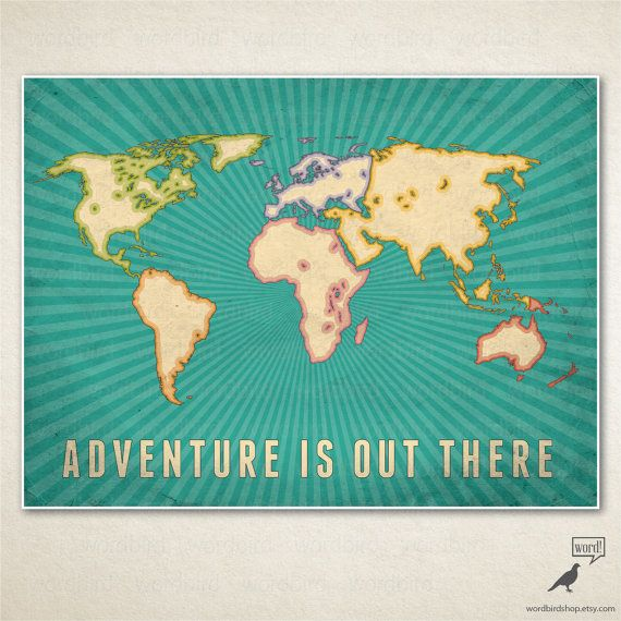 Boys room decor large world map adventure is out there world map adventure is out there large world map poster vintage styled worn texture map art gumiabroncs Gallery