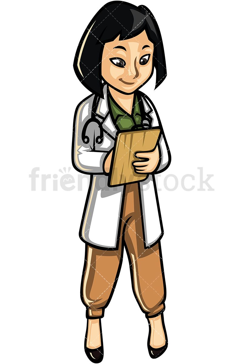 Asian Woman Doctor Cartoon Vector Clipart Friendlystock Cartoons Vector Female Doctor Character Design