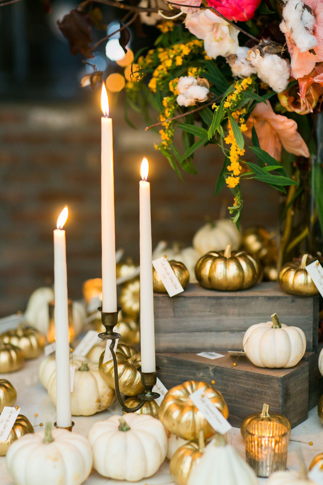 Fall decor for wedding Elegant NYC Fall Wedding at  Bridge Street  Loft wedding Wedding