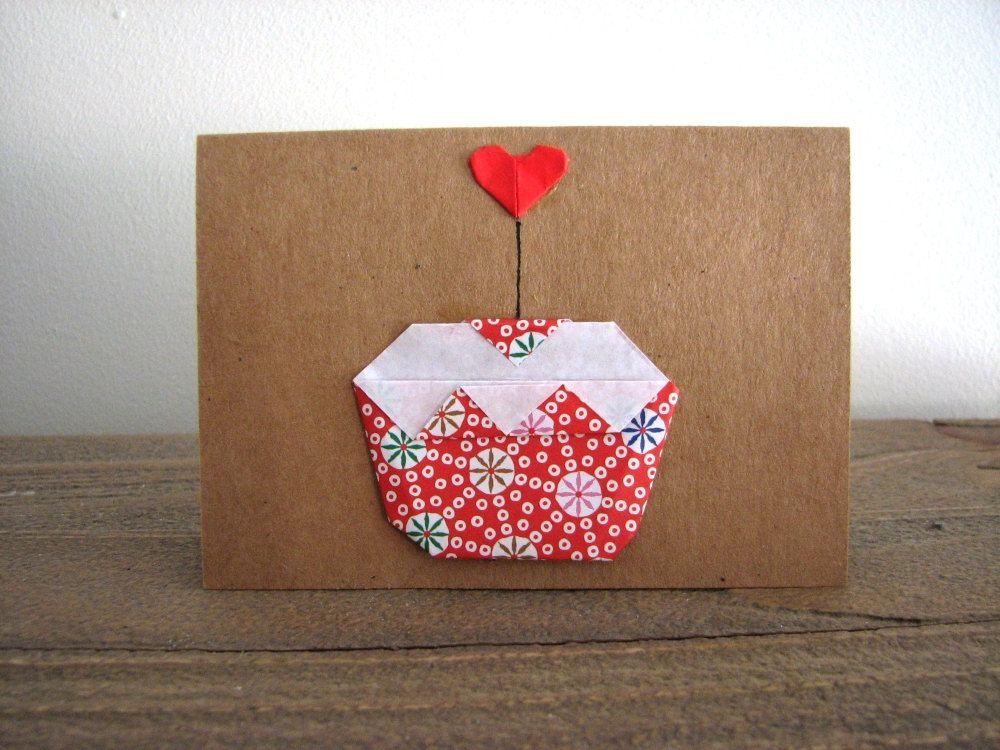 Origami Cupcake Mini Card Origami Birthday Card By Hobbity On Etsy
