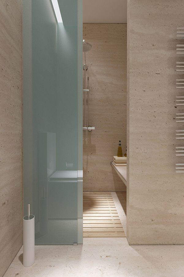 Modern Simplicity Sliding Frosted Glass Panels Strong Vertical Lines Lipki Apartment By Nikita Borisenk Bathroom Design Modern Bathroom Beautiful Bathrooms