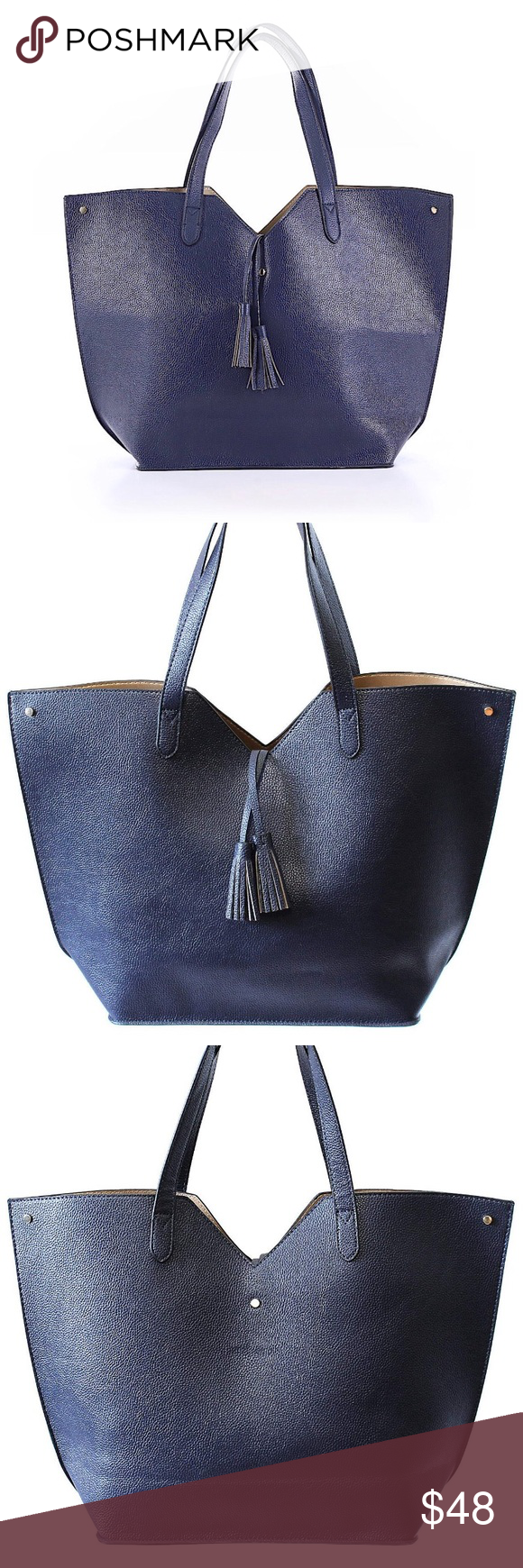Neiman Marcus Navy Faux Leather Tote W Tassels Neiman Marcus Handbags Neiman Marcus Bags Neiman Marcus