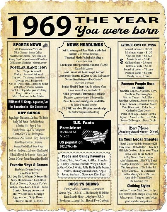 1969 Year You Were Born, Newspaper Style Poster, Born in