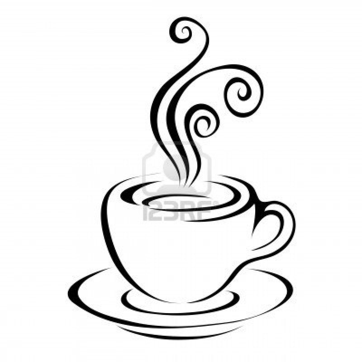 Line art coffee isolated on white Stock Photo - 7268606