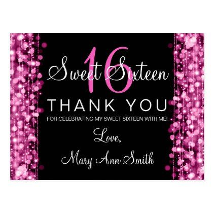 Thank You Note Sweet  Party Sparkles Pink Postcard  Glitter