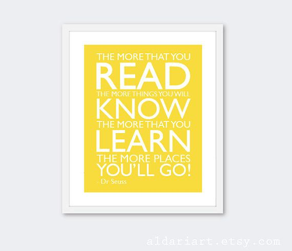 Read Learn Know Art Print - Nursery Wall Art - Quote Art Print - Dr ...