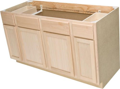 Quality One 60 X 34 1 2 Unfinished Oak Sink Base Cabinet With 2
