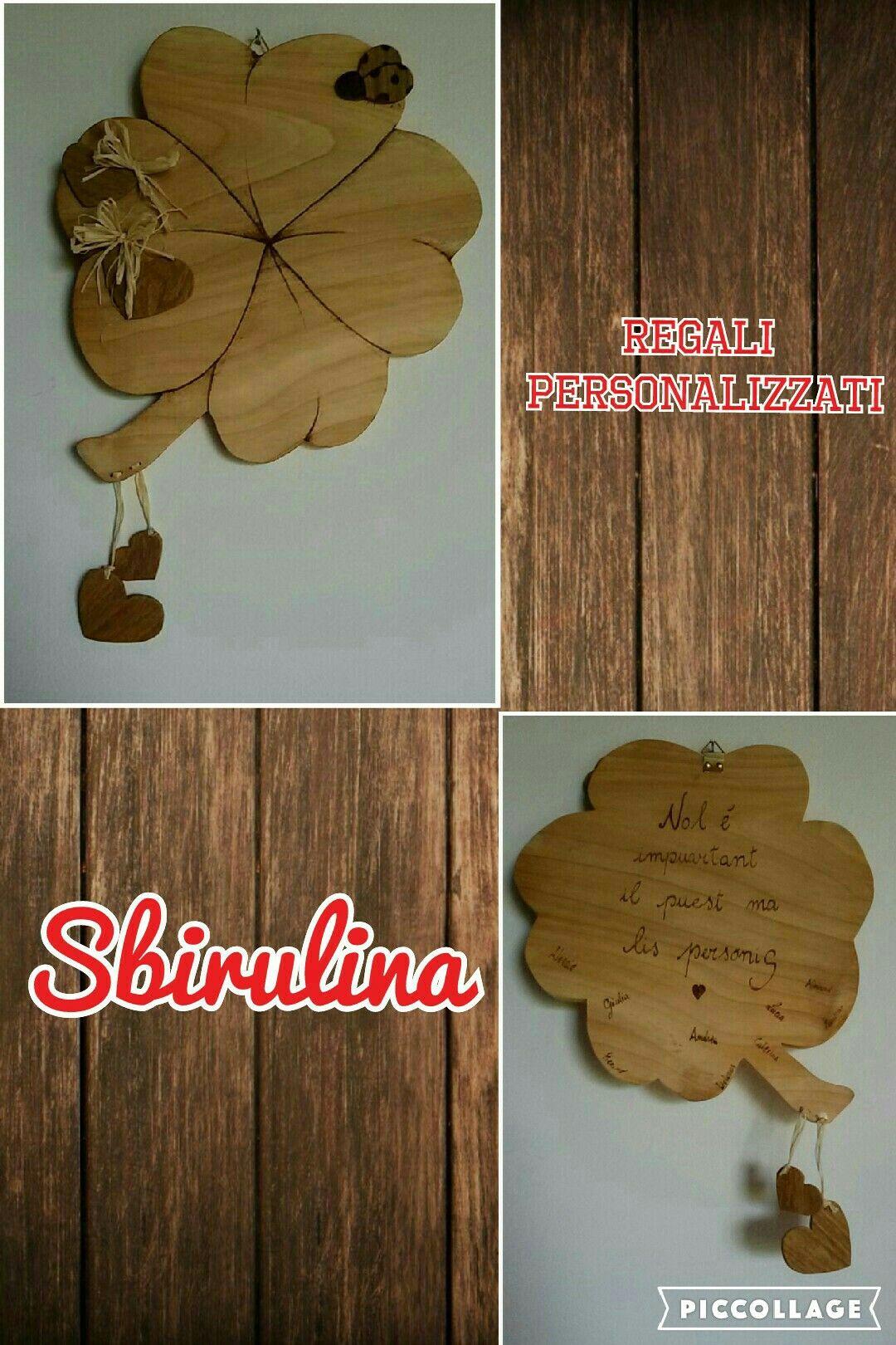 Quadrifoglio portafortuna fatto a mano traforo handmade by sbirulina legno