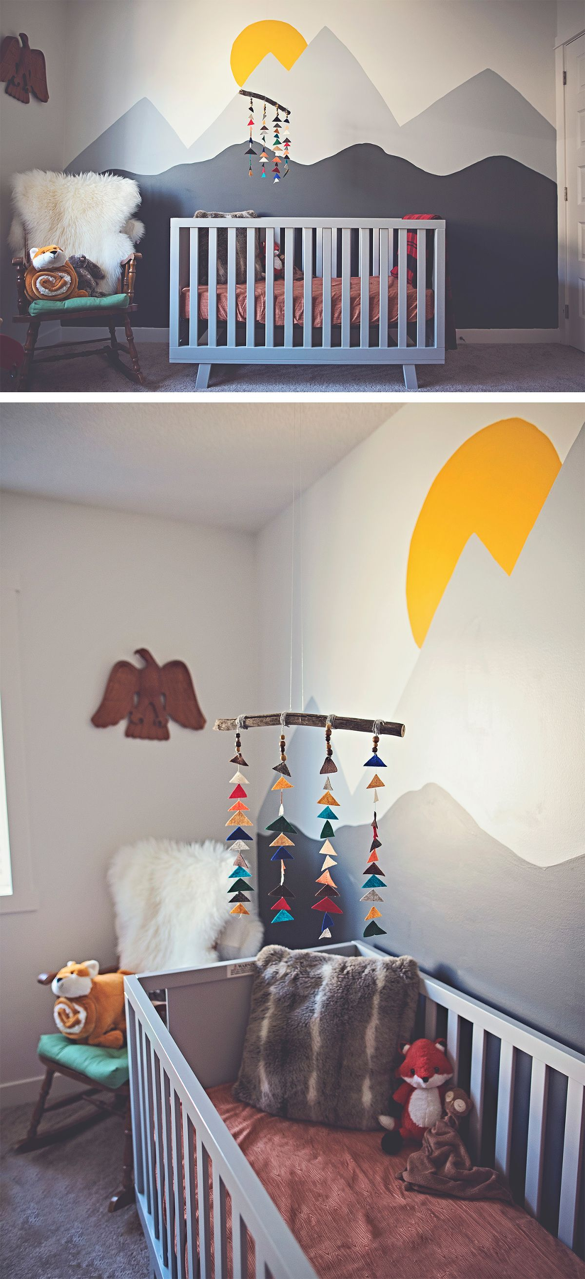 Simple Baby Boy Nursery Ideas: Mountain Mural And That Simple Mobile. So Perfect For A