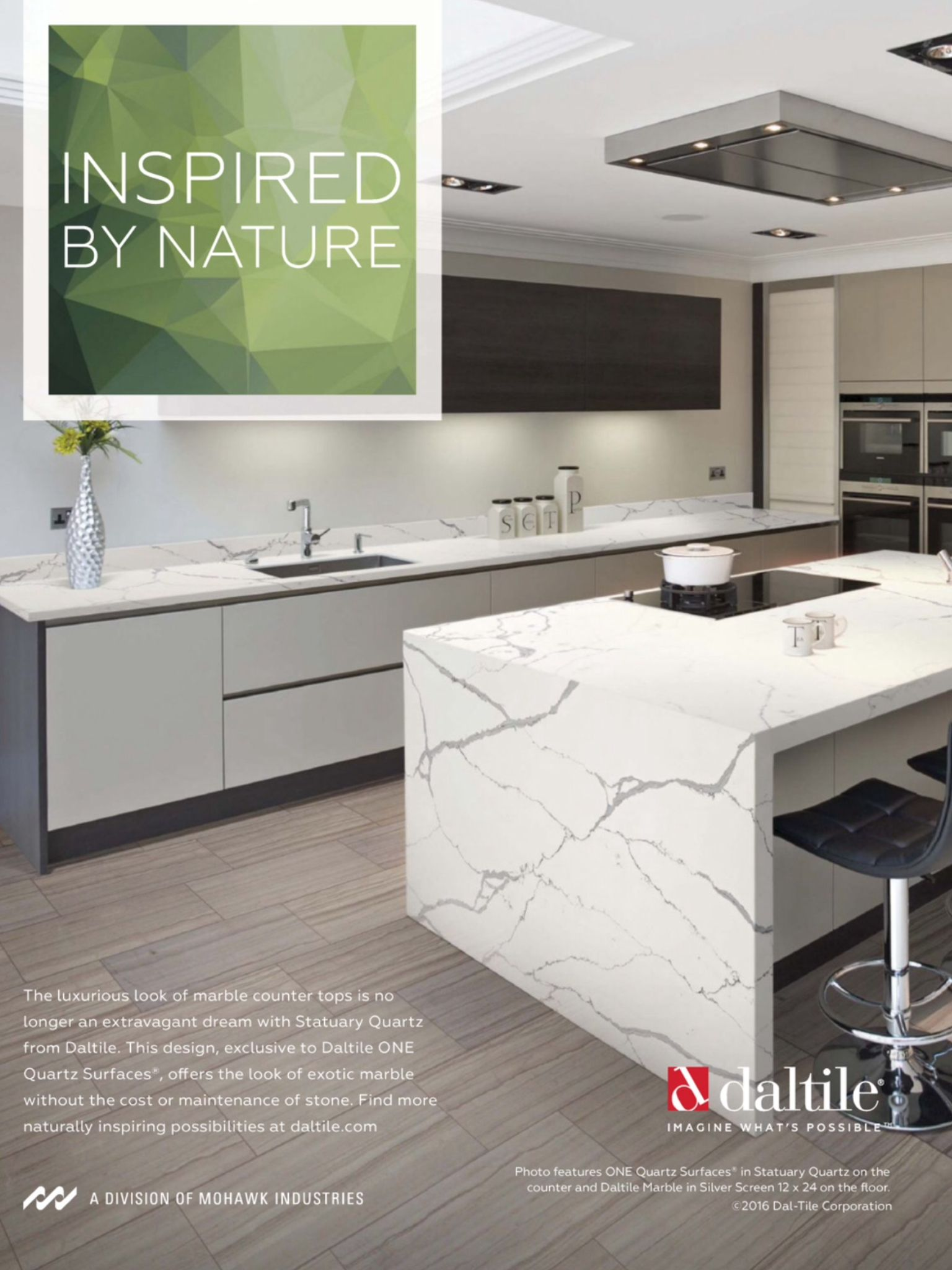 Daltile One Quartz Color Statuary Installed On Counter Marble Silver Screen 12x24 Floor