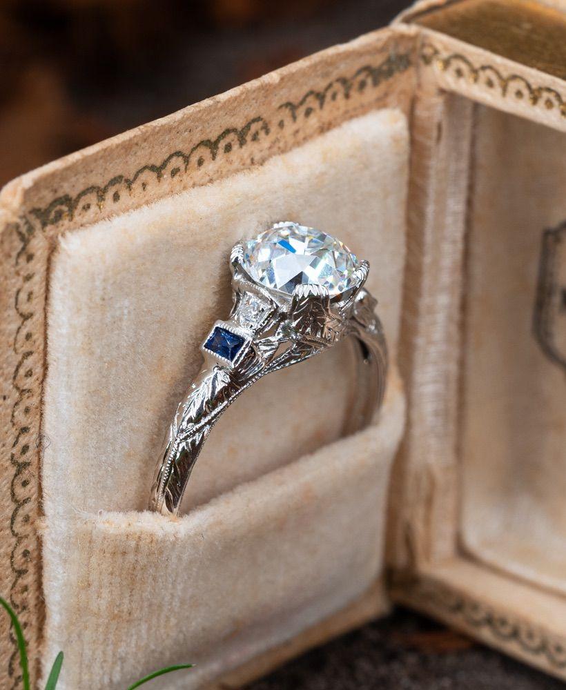 Art Deco Engagement Ring Old Euro Cut Diamond 1.83