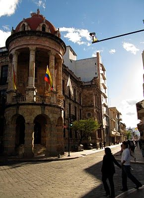 This is the mayor's building. It's one of the most photographed buildings in all of Cuenca. One block from Parque Calderón, it looks like it's made from unpolished marble, but it's actually a type of rock found several miles to the east of the city.