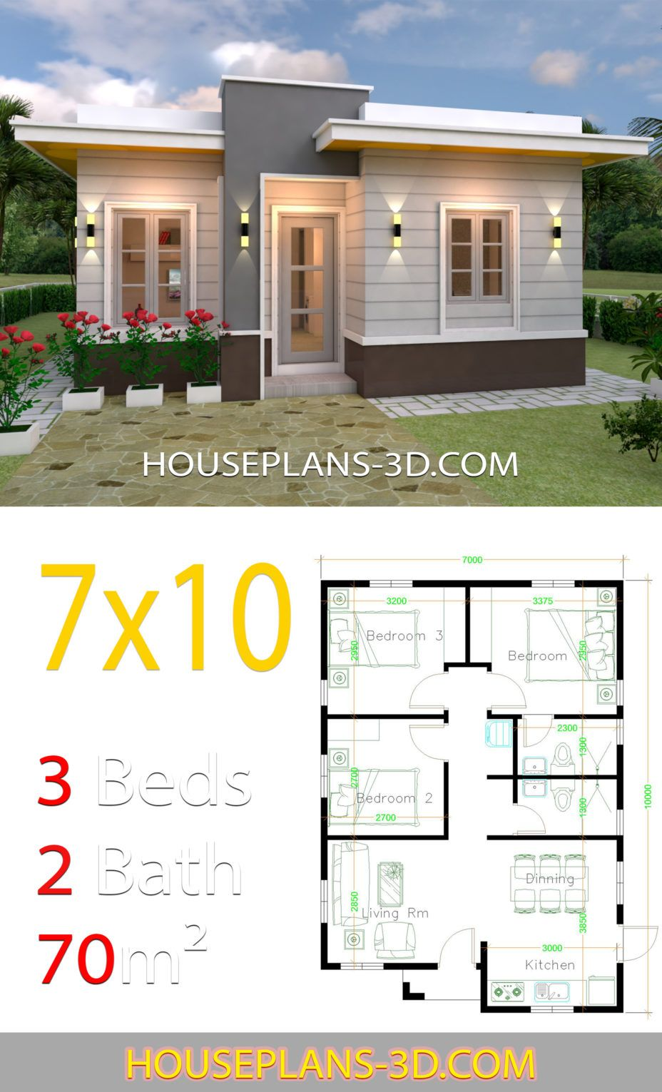 House Design 7x10 With 3 Bedrooms Terrace Roof House Plans 3d In 2020 House Plans Flat Roof House Small House Design Plans