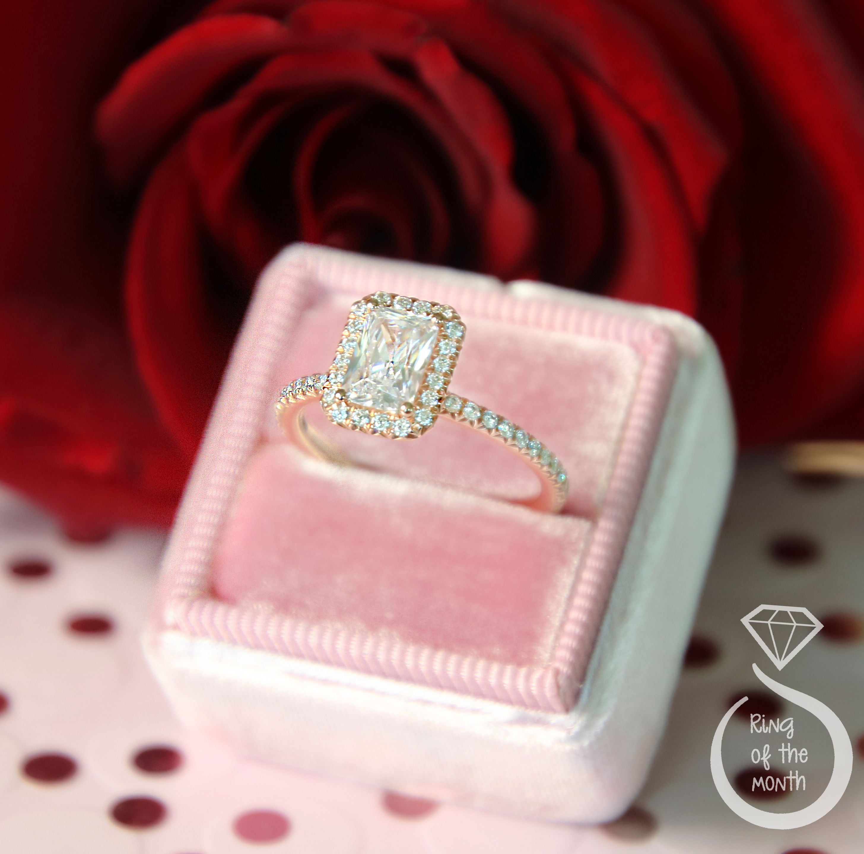 February\'s Ring of The Month: Emerald Cut Halo Engagement Ring ...