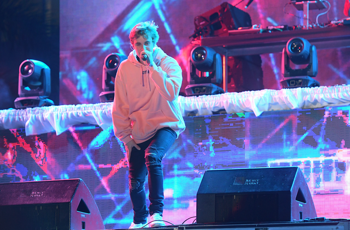 Justin Bieber performing on New Year's Eve at the