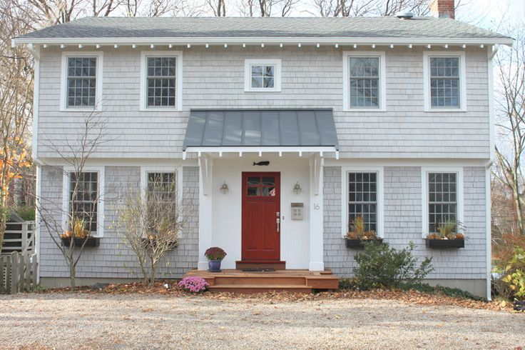 Molly Frey Design Garrison Colonial Front Entry Front Porch Colonial Exterior House Awnings Colonial House Exteriors