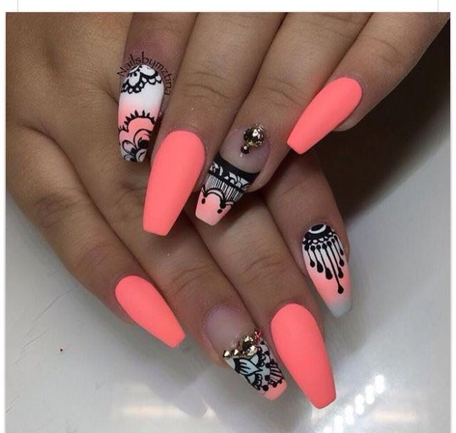 Coffin shape summer nails. Coral with designs.   NAIL ART ...