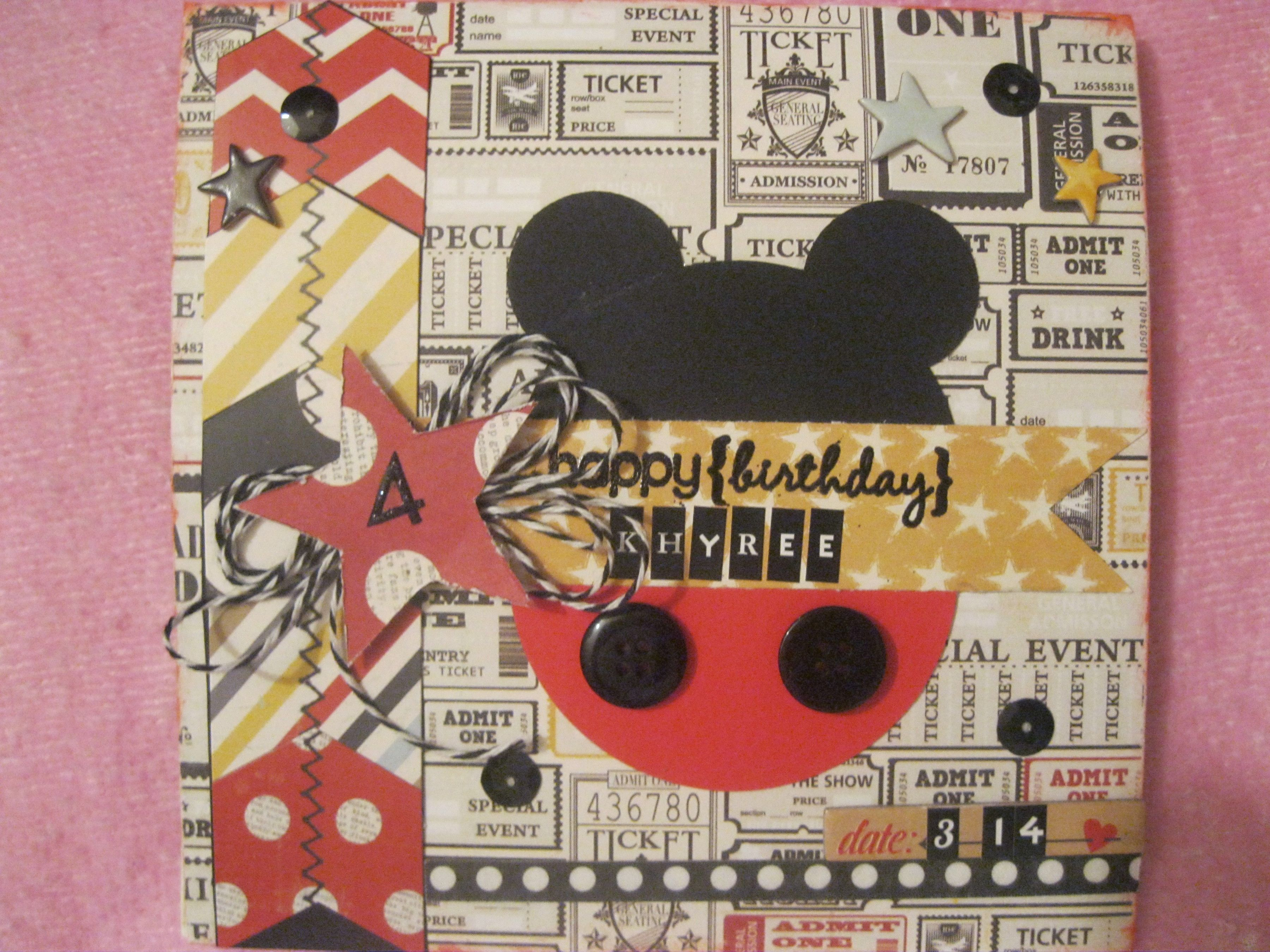 Khryee Birthday Card Disney Scrapbook Birthday Cards Cards