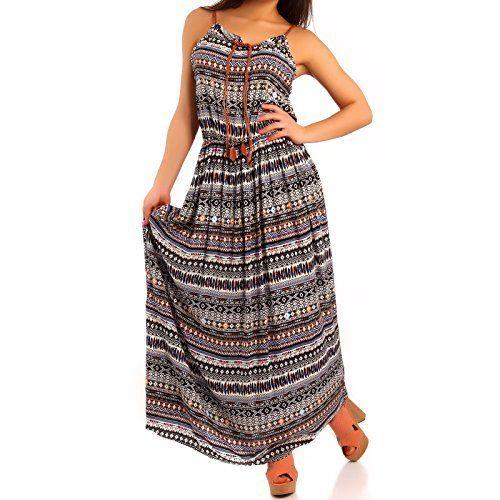 Damen Boho Hippie Sommerkleid Strandkleid Lang Maxikleid Freizeit Party Kleider