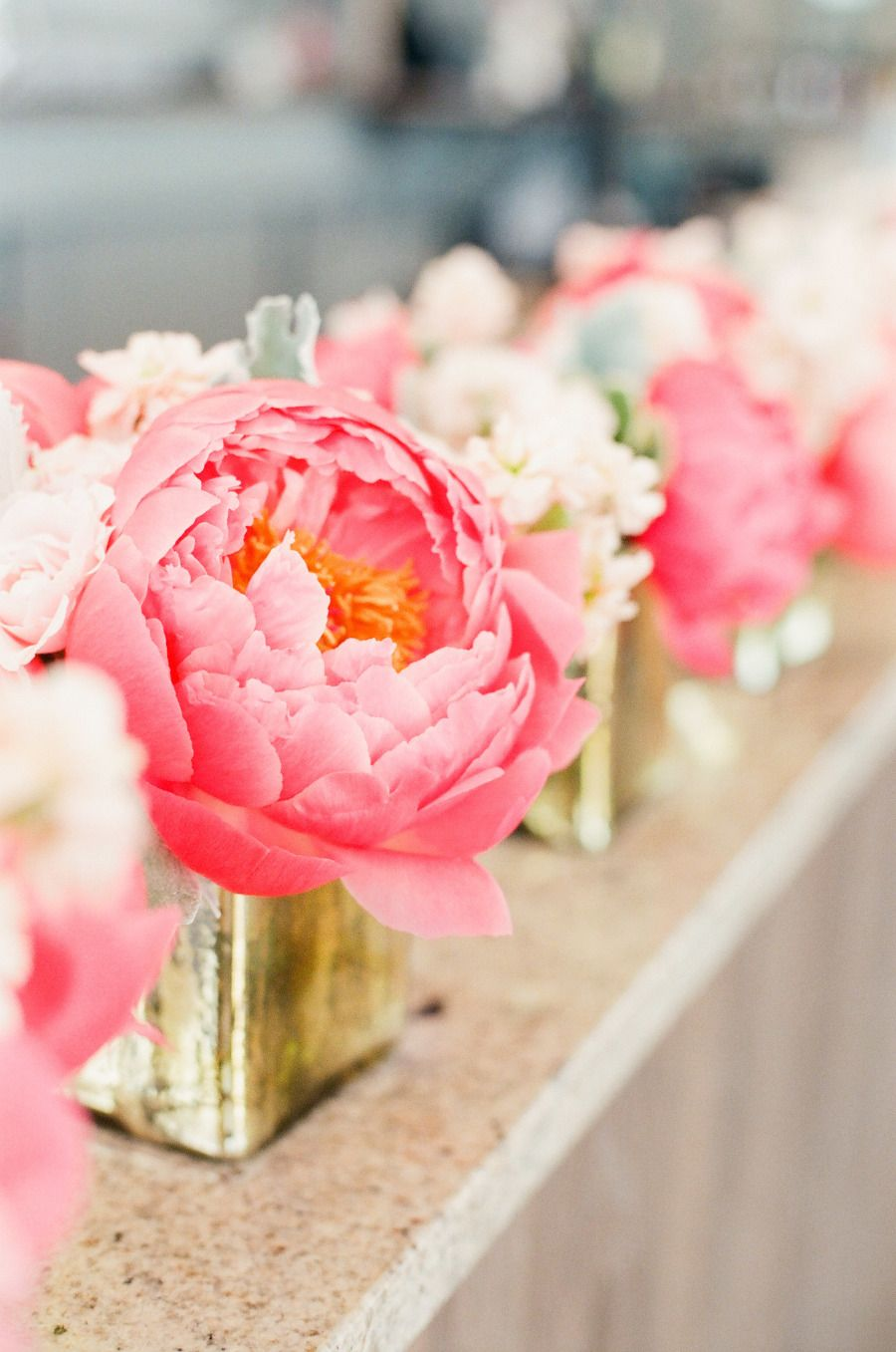 Nautical Coral + Mint Cape Cod Wedding | Peony arrangement, Peony ...