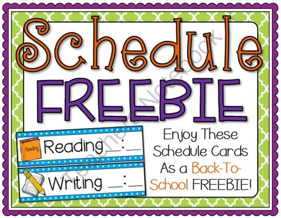 "Schedule Cards Freebie from Barnard Island ....Follow for free ""too-neat-not-to-keep"" teacher tools & other fun stuff :)"
