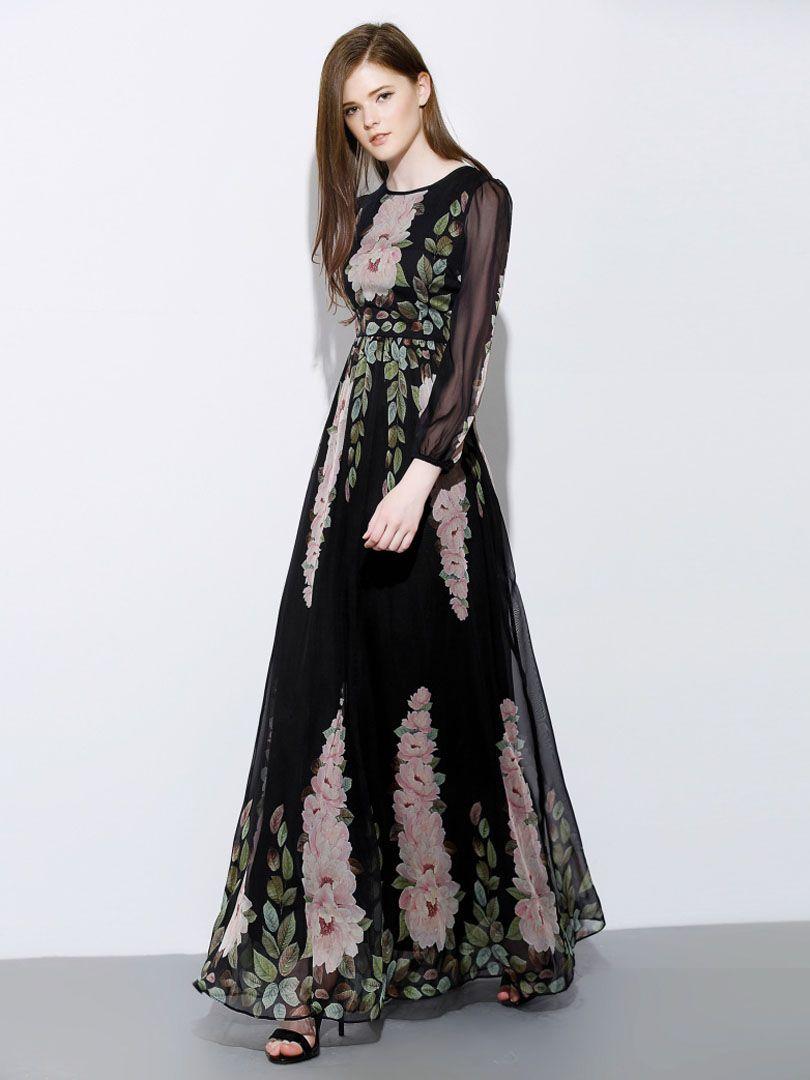 cd0f947cfc0 Black Floral Print Long Sleeve Chiffon Maxi Dress | Lovely long ...