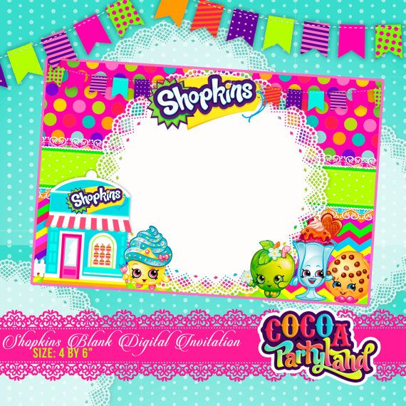 He Encontrado Este Interesante Anuncio De Etsy En Httpswwwetsy - Blank shopkins birthday invitations