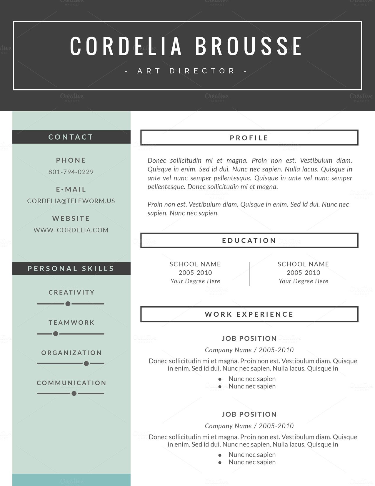 resume template 3 pages  cv template by this paper fox on creative market